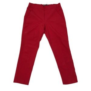 Zara Red Cropped Front Pleated Work Pants Sz M